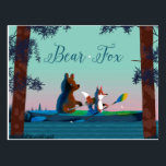"""Cute Bear and Fox kayaking on a wild forest river Postcard<br><div class=""""desc"""">Cute Bear and Fox kayaking on a wild forest river. Beautiful digital and watercolor illustration by Ulla at mermaid.fi (that's me!). Perfect for anyone who loves nature and life in the wild.</div>"""