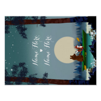 Cute Bear and Fox kayaking on a wild forest river Poster