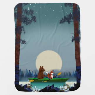 Cute Bear and Fox kayaking on a wild forest river Swaddle Blanket