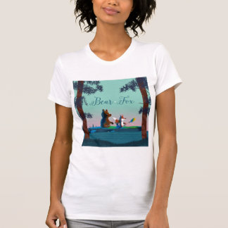 Cute Bear and Fox kayaking on a wild forest river T-shirt
