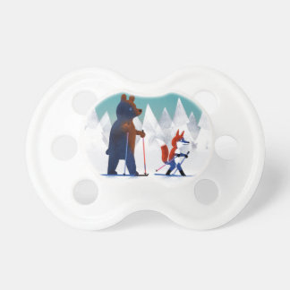 Cute Bear and Fox skiing under stars in a forest Pacifier