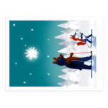 Cute Bear and Fox skiing under stars in a forest Postcard