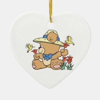 Cute Bear and Hummingbirds Double-Sided Heart Ceramic Christmas Ornament