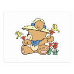 Cute Bear and Hummingbirds Postcard