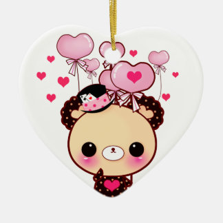 Cute bear and pink balloons - Happy Valentine Ceramic Ornament