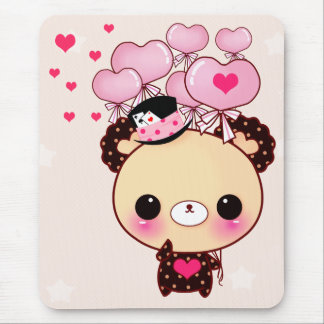 Cute bear and pink balloons mouse pad