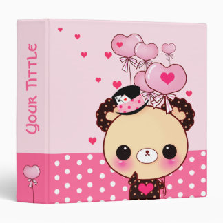 Cute bear and pink heart-shaped balloons 3 ring binder