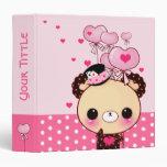 Cute bear and pink heart-shaped balloons 3 ring binder