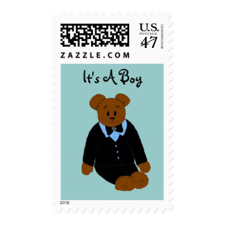Cute Bear Baby Boy Postage Stamp