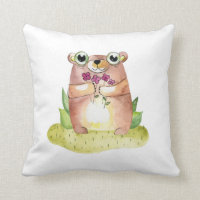 Cute bear baby. Kids animal watercolor. Nursery Throw Pillow