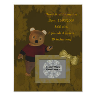 Cute Bear Birth Announcement Photo Poster
