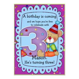 "Cute Bear Birthday Invite Age 3 5"" X 7"" Invitation Card"