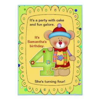 Cute Bear Birthday Invite Age 4
