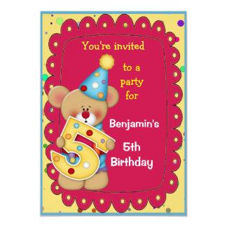 Cute Bear Birthday Invite Age 5