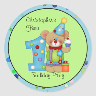 Cute Bear Birthday Party Sticker Age 1