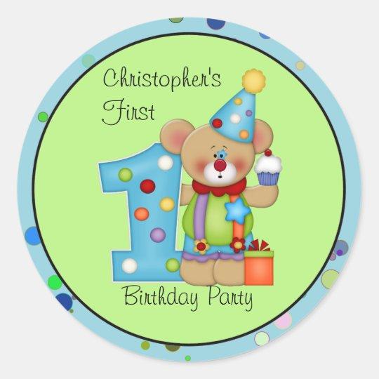 Cute Bear Birthday Party Sticker Age 1