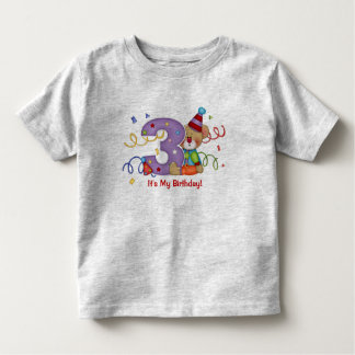 Cute Bear Birthday T-Shirt Age 3