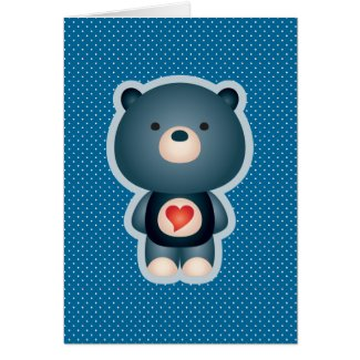 Cute Bear Blue Greeting Cards