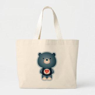 Cute Bear Blue Large Tote Bag