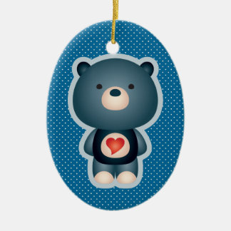 Cute Bear Blue Double-Sided Oval Ceramic Christmas Ornament