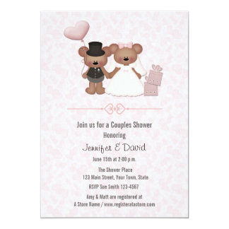 Cute Bear Bride and Groom Couples Shower Card