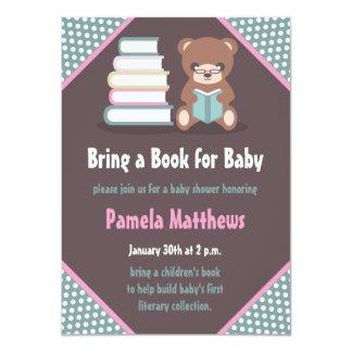 Cute Bear Bring a Book Baby Shower Invitations