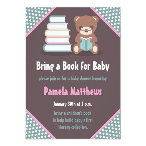 cute bear bring a book baby shower invitations zazzle