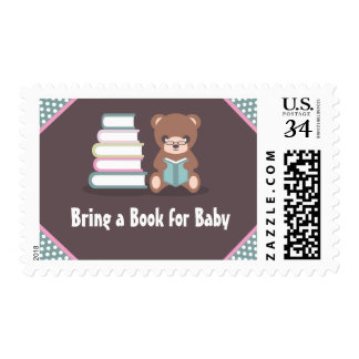 Cute Bear Bring a Book Baby Shower Postage Stamps