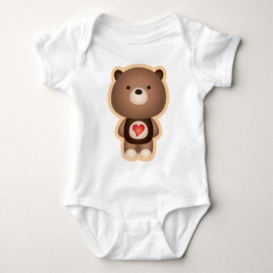 Cute Bear Brown Baby Bodysuit