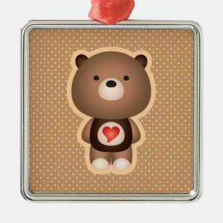 Cute Bear Brown Metal Ornament