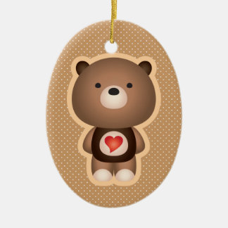 Cute Bear Brown Double-Sided Oval Ceramic Christmas Ornament