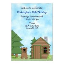 Cute Bear & Cabin Birthday Invitation for Boys