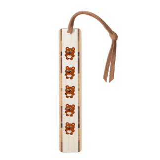 Cute bear cartoon maple bookmark