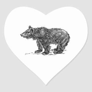 Cute Bear Cub Heart Sticker
