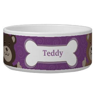 Cute Bear Customized Pet Dog Food Bowl - Purple