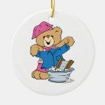Cute Bear Doing Laundry Christmas Ornament