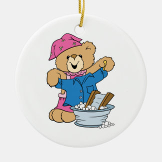 Cute Bear Doing Laundry Double-Sided Ceramic Round Christmas Ornament