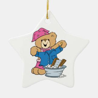 Cute Bear Doing Laundry Double-Sided Star Ceramic Christmas Ornament