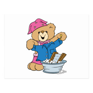 Cute Bear Doing Laundry Postcard