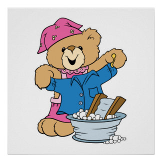Cute Bear Doing Laundry Poster