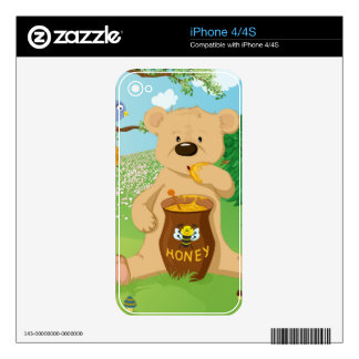 Cute bear eating honey decal for the iPhone 4