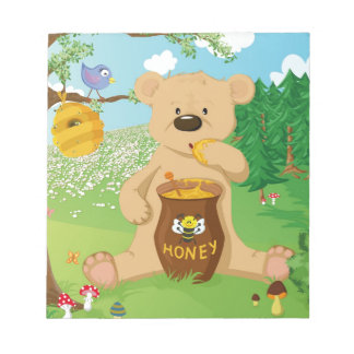 Cute bear eating honey notepad