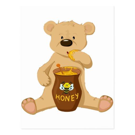 cute bear eating honey postcard zazzle. Black Bedroom Furniture Sets. Home Design Ideas