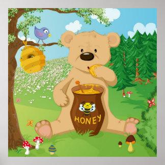 Cute bear eating honey print