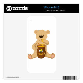 Cute bear eating honey skins for iPhone 4S