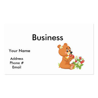 cute bear eating strawberries business card
