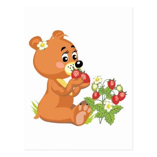 cute bear eating strawberries postcard