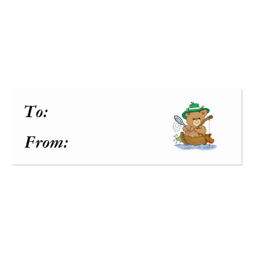 Cute Bear Fishing in Boat Double-Sided Mini Business Cards (Pack Of 20)