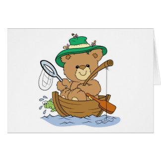 Cute Bear Fishing in Boat Cards