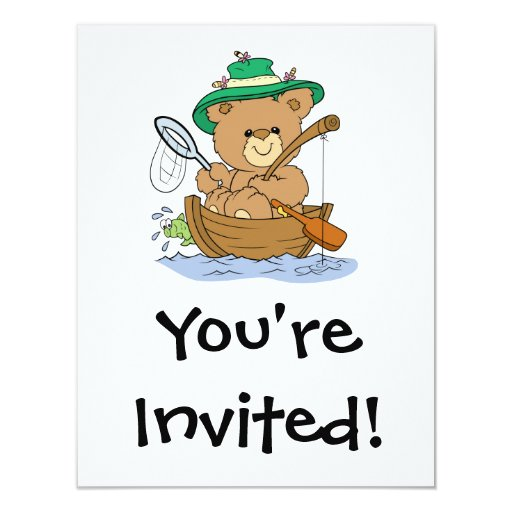 Cute Bear Fishing in Boat 4.25x5.5 Paper Invitation Card